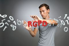 GDPR的RGPD,西班牙人,法语和意大利语版本版本:Reglamento General de Proteccion de datos 一般数据 库存图片