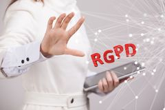 GDPR的RGPD,西班牙人,法语和意大利语版本版本:Reglamento General de Proteccion de datos 一般数据 免版税库存图片