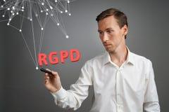 GDPR的RGPD,西班牙人,法语和意大利语版本版本:Reglamento General de Proteccion de datos 一般数据 免版税库存照片