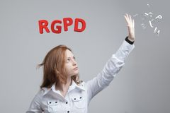 GDPR的RGPD,西班牙人,法语和意大利语版本版本:Reglamento General de Proteccion de datos 一般数据 库存照片