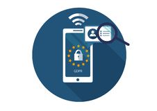 GDPR Επίπεδη διανυσματική απεικόνιση Γενικός κανονισμός προστασίας δεδομένων Προστασία της προσωπικής πληροφορίας διανυσματική απεικόνιση