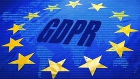 GDPR över EU-flagga och världskarta arkivfoto