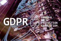 GDPR överensstämmelse för reglering för skydd för allmänna data Serverrumbakgrund royaltyfria bilder