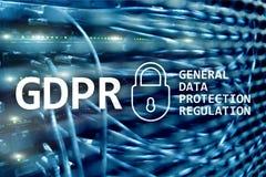 GDPR överensstämmelse för reglering för skydd för allmänna data Serverrumbakgrund royaltyfri bild