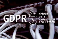 GDPR överensstämmelse för reglering för skydd för allmänna data Serverrumbakgrund arkivfoton