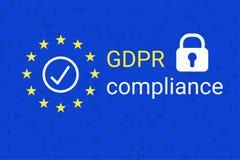 GDPR - Γενικός κανονισμός προστασίας δεδομένων Σύμβολο συμμόρφωσης GDPR διάνυσμα απεικόνιση αποθεμάτων