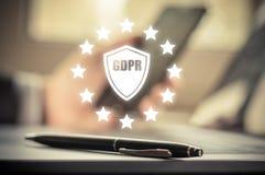GDPR Κανονισμός προστασίας δεδομένων Ασφάλεια και ιδιωτικότητα Cyber Στοκ Φωτογραφία