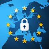 GDPR, общая регулировка защиты данных, карта евро, вектор бесплатная иллюстрация