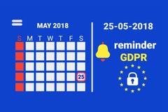 GDPR -一般数据保护安全技术背景 与提示的日历 向量 库存照片