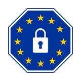 GDPR -一般数据保护章程,导航octogonal象 免版税库存照片
