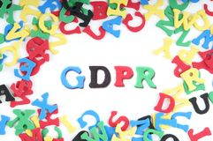 GDPR is the abbreviation for general data protection regulation. 3D text illustration Stock Image