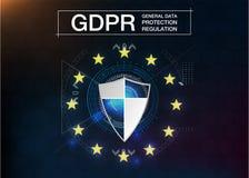 GDPR - ALGEMENE GEGEVENSBESCHERMINGregelgeving Cyberveiligheid en privacy Vector illustratie Toekomstige stijl Royalty-vrije Stock Foto's