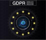 GDPR-algemene Gegevensbeschermingverordening Cyberveiligheid en privacy Vector illustratie Toekomstige stijl Stock Foto
