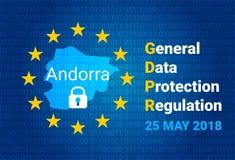 GDPR - Algemene Gegevensbeschermingverordening Kaart van Andorra, de EU-vlag Vector vector illustratie