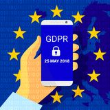 GDPR - Allgemeine Daten-Schutz-Regelung Sicherheitstechnikhintergrund Vektor vektor abbildung