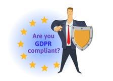 GDPR-Befolgung Allgemeine Daten-Schutz-Regelung Geschäftsmann mit einem Schild eine Frage vor EU unterstreichend vektor abbildung