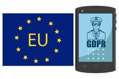 GDPR-begrepp Reglering för skydd för allmänna data Hand dragen smartphone stock illustrationer