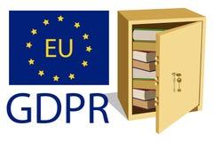GDPR-begrepp Reglering för skydd för allmänna data Hand dragit kassaskåp royaltyfri illustrationer