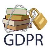 GDPR-begrepp Reglering för skydd för allmänna data Hand drog böcker royaltyfri illustrationer
