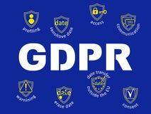 GDPR-begreppsillustration Reglering för skydd för allmänna data T stock illustrationer