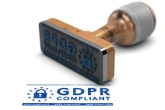 GDPR Compliance, EU General Data Protection Regulation Compliant. EU General Data Protection Regulation Compliance. Rubber stamp with the text GDPR Compliant royalty free illustration