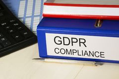 GDPR compliance. General Data Protection Regulation - 25 May 2018. Personal data safety, cyber privacy and security in. Euorope. Folders with documentation stock photo