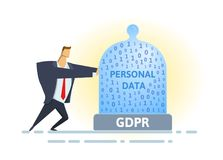 GDPR compliance. Personal data security. Man moving glass dome with personal data and GDPR letters. Flat vector. GDPR standard and compliance. Personal data stock illustration