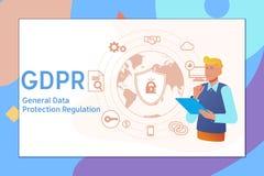 GDPR-concept, algemene gegevensbeschermingregelgeving illustratie met pictogrammen voor Webbanner Vector illustratie Royalty-vrije Stock Afbeeldingen