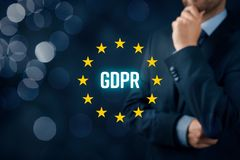 GDPR concept. GDPR general data protection regulation concept. Businessman or IT technologist think about GDPR implementation for his company Stock Images