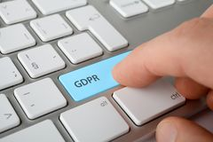 GDPR concept. GDPR general data protection regulation concept. Internet user press key on keyboard with text GDPR Royalty Free Stock Photos