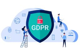 GDPR concept. General Data Protection Regulation for protect the personal data and privacy. Cartoon Vector Illustration Stock Photos