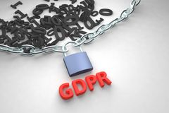 GDPR concept illustration. General Data Protection Regulation, the protection of personal data. Data and chain with lock. 3d rendering illustration Stock Images