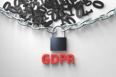 GDPR concept illustration. General Data Protection Regulation, the protection of personal data. Data and chain with lock. 3d rendering illustration Stock Photos