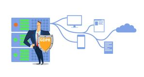 GDPR concept illustration. General Data Protection Regulation. The protection of personal data. Server and security. Guard. Vector, isolated on white background Royalty Free Stock Images