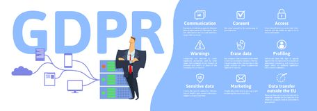 GDPR concept illustration. General Data Protection Regulation. The protection of personal data. Server and security. Guard. Vector, isolated on white background Stock Photography