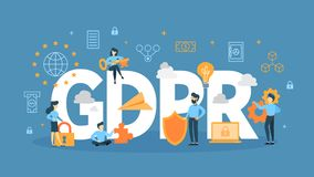 GDPR concept illustration. Idea of safety and security vector illustration