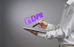 GDPR concept image. General Data Protection Regulation, the protection of personal data in European Union. Young man. GDPR, concept image with copy space Stock Images