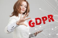 GDPR concept image. General Data Protection Regulation, the protection of personal data. Young woman working with. GDPR, concept image. General Data Protection stock photo