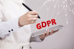 GDPR concept image. General Data Protection Regulation, the protection of personal data. Young woman working with. GDPR, concept image. General Data Protection Royalty Free Stock Photos