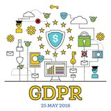GDPR Concept. Vector Illustration. General Data Protection Regulation. The Protection of Personal Data stock illustration