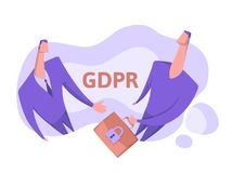 GDPR, concept vector illustration, isolated on white. General Data Protection Regulation. Protection of personal data. GDPR, concept vector illustration Royalty Free Stock Photos