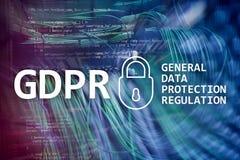 GDPR, conformidad general de la regulación de la protección de datos Fondo del sitio del servidor stock de ilustración