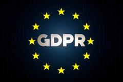 GDPR cyber ochrony dane pojęcie z Europe gwiazdy flaga z matrycą na błękitnym tle zdjęcie stock