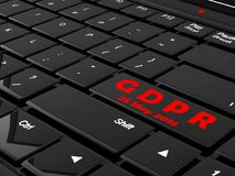 GDPR 3D concept on a laptop keyboard black buttons Royalty Free Stock Photography