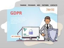 GDPR date. General Data Protection Regulation. Man with a shield in front of computer. Design template of website. GDPR date. General Data Protection Regulation royalty free illustration