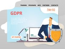 GDPR date. General Data Protection Regulation. Man with a shield in front of computer. Design template of website. GDPR date. General Data Protection Regulation Royalty Free Stock Photos