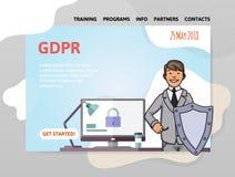 GDPR-Datum Allgemeine Daten-Schutz-Regelung Mann mit einem Schild vor Computer Designschablone von Website lizenzfreie abbildung