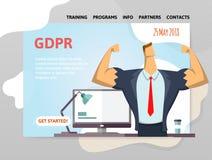 GDPR-datum Reglering för skydd för allmänna data Stark affärsman framme av datoren Designmall av websiten royaltyfri illustrationer