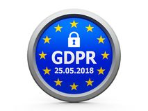 GDPR Day EU  2. Emblem of flag of European Union  with text - The Twenty Fifth of May - and symbol of padlock - represents the Implementation date 2018 of GDPR Royalty Free Stock Photography