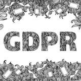 GDPR - Dessin réglementaire de griffonnage de protection des données générale illustration libre de droits